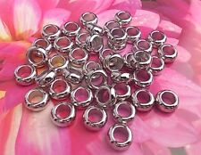 40 Stunning Chunky Rondelle Spacer Silver 10mm *Large 5mm hole