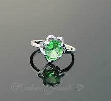 FLOWER LIME GREEN CZ WOMENS GIRLS LADIES DRESS SILVER SP RING SIZE 9 R LARGE