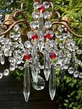 Beautiful RED Crystal & Cut Glass Crystal Icicle Chandelier drops x5 spare parts