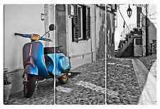 Quadro moderno LA VESPA 80x120 arredo casa tela canvas piaggio ruote vespone blu