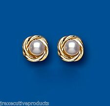 Pearl earrings Freshwater pearl Cultured Pearl Studs Yellow Gold Pearl Earrings