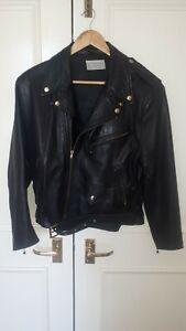 Black 100% Real Leather Biker Jacket size 12