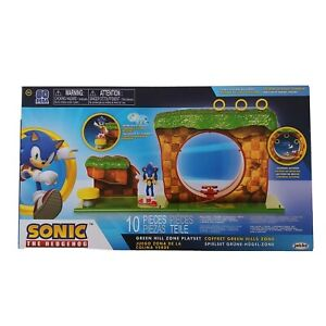 GREEN HILL ZONE Sonic The Hedgehog 10 Piece Playset FIGURE INCLUDED Sonic Figure