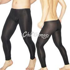Mens Sexy Sheer Mesh Leggings Long Johns Pants Stretch See-through Underwear New