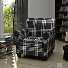 Fabric Check Armchair Plaid Fireside Tube Chair Living Room Relaxing Seat Retro