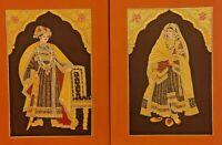 Hand Painted Gold Work Maharaja Maharani Pair Portrait Miniature Painting Fine