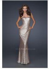 La Femme Gold Sequin Low Back Sleeveless Full Length Formal Gown Dress Size 2