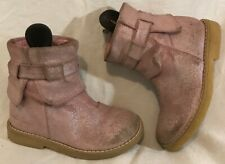 Girls Kanjers Pink Leather Lovely Boots Size 26 (804Q)