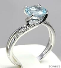 Aquamarine Solitaire with Accents White Gold 14k Engagement Rings