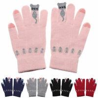 Women Cartoon Cats Winter Warm Knitted Gloves Full Finger Touch Screen Mittens