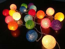 Rainbow Pack 20 Cotton Ball Fairy Light with String Globe Bulb 3 metres long