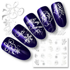 Nail Art Water Decals Transfers Metallic Christmas Xmas Santa Snow C051 Silver