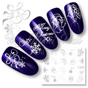 Nail Art Water Decals Transfers Metallic Christmas Xmas Santa Snow C051 Silver