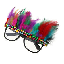 Xmas Multicolor Crystal Feather Sunglasses Funny Party Glasses Accessories