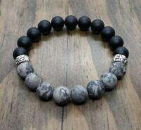 Men's 10mm Silk Stone and Black Agate Beaded Gemstone Bracelet