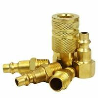 """5pc Brass Plated Quick Air Hose Coupler Set Connector Fitting 1/4""""NPT Tools Part"""