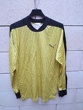 VINTAGE Maillot PUMA porté n°11 1 jaune trikot oldschool shirt 80's M