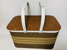 Vintage Redmon Brown Tan Picnic Basket Wicker Wood Woven Small Quilted