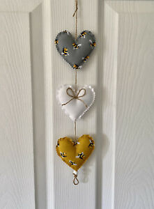 Bees Handmade Fabric Hanging Hearts 3 in Grey/white and Mustard (yellow)
