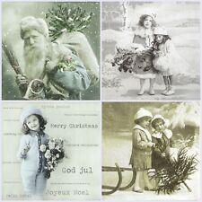 4x Paper Napkins for Decoupage Craft, Sagen -Vintage Christmas -Mix