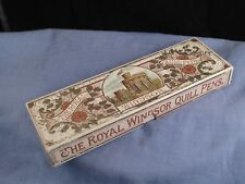 HAND CUT ROYAL WINDSOR QUILL FEATHER ANTIQUE DIP PENS IN DESKTOP WRITING BOX