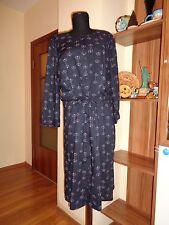 GUDRUN SJODEN DARK INDIGO VISCOSE BUTTONED PLEATED DRAWSTRING WAIST DRESS-M