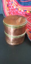 Old Brass & Copper Round Container …beautiful collection display piece