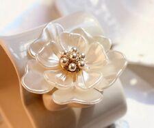 Elegant Camellia Flower Pearl Crystal Wedding Bridal Bouquet Brooch Pin Jewelry