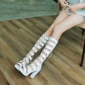 Women's Hollow Out Sandals Block Heel Platform Knee High Boots Punk Gothic Shoes