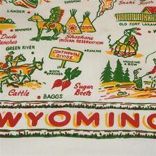 Wyoming State Map Souvenir Dish Towel