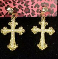 New Yellow Enamel Fashion Cross Crystal Betsey Johnson Women Stand Earrings