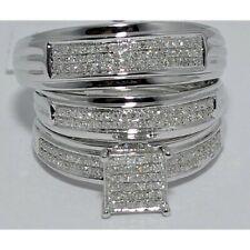 Bridal Ring Sets 14K White Gold Fn Men's & Women's Round Diamond Trio Engagement