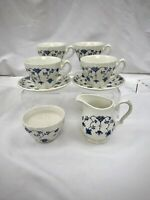 Vintage Churchill FINLANDIA Creamer & Sugar Bowl PLUS 2 CUPS & SAUCERS Blue
