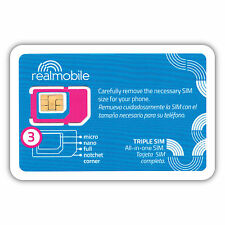 iPHONE READY SIM CARD 3G/4G LTE using nationwide network on REAL Mobile Prepaid