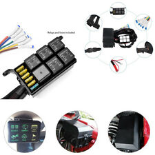 Car Auto Marine 6 Gang 6 Switch Panel Relay Control Box+Wiring Harness Blue LED