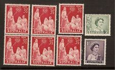 Australia 1958 ~ 3 1/2d Christmas Stamp ~ 2 Pair, 2 Singles PLUS 2 EXTRA