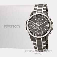 Authentic Seiko Men's Solar Chronograph Black Dial Stainless Steel Watch SSC143