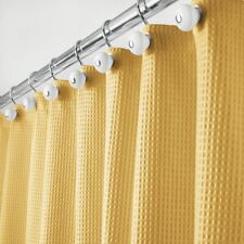 "mDesign Waffle Weave Fabric Shower Curtain - 72"" Long - Mustard Yellow"