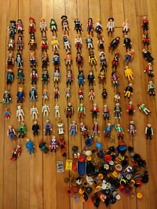 Large Lot of 75+ Used Playmobil Figures and accessories vintage