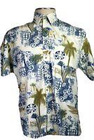 Batik Bay, Men's Medium Blue Tan White Hawaiian Shirt Native Scenes Trees Camp