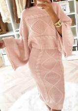 New Women Cable Knit Crop Top Suit Ladies Co ord Loungewear  2pcs Tracksuit Set