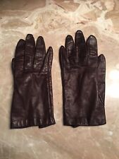 Vintage Stetson Women's Chocolate Brown Leather Gloves Size 6.5 Mirakle-Kid