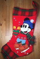 Disney Mickey Mouse Skating Red And Green Plaid Scarf Christmas Stocking Present