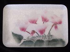 "Vintage Wireless Cloisonne Tutanka Cyclamen Flowers Dish Tray Japan 7"" x 4-5/8"""
