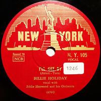 """BILLIE HOLIDAY """"I'll Get By / On The Sunny Side Of..."""" (1953) RARE Danish 78rpm"""