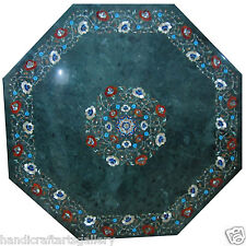 3'x3' Green Marble Dining Coffee Table Top Marquetry Inlay Mosaic Home Decors