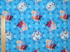 Disney Frozen Sisters Ice Skating Framed blue 100% cotton fabric by the yard