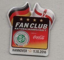 Deutschland - Nordirland Pin Fan Club Coca Cola Hannover 11.10.2016 DFB