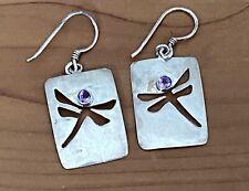 Vintage Sterling Silver Cut Out  Dragonfly Amethyst Drop Dangle Earrings 3.06 Gr