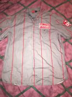 Coca-Cola Delivery Men's Button Pinstripe Mechanic Employee Patch Logo Shirt